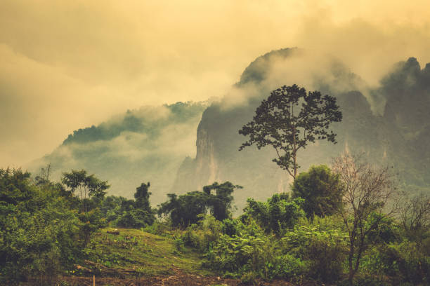 Extreme terrain landscape misty Phangern mountain range, Vang Vieng, Laos stock photo