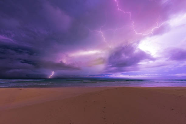 Extreme weather: Caribbean lightning storm stock photo