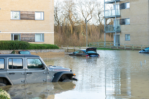 Extreme weather flooding in Huntingdon