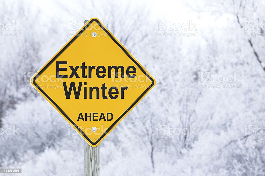 Extreme Winter Ahead Road Warning Sign royalty-free stock photo