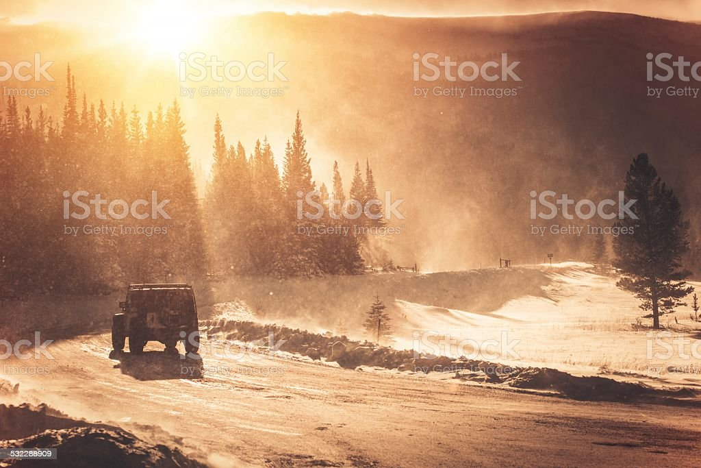 Extreme Winter Road Condition stock photo