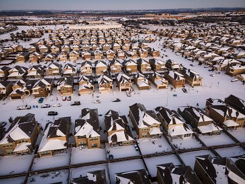 Extreme Winter Storm Uri Snow covered Austin Texas USA Aerial Landscape