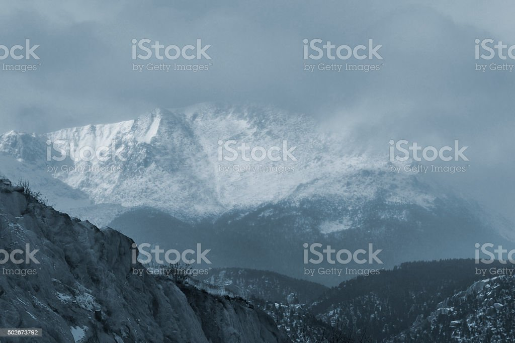 Extreme Winter Weather on Pikes Peak stock photo