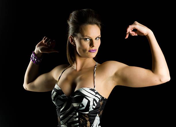 Armpit Women Flexing Muscles Female Stock Photos, Pictures