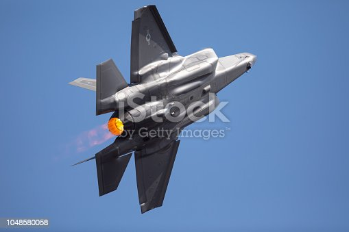 1145066973 istock photo Extremely  close tail view of an F-35 Lightning II  in a high G turn, with afterburner on 1048580058