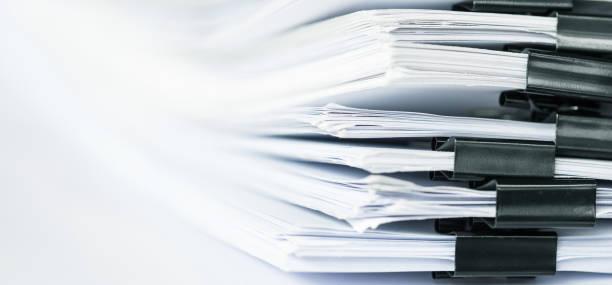 extrem Nahaufnahme Bericht Papier Stapeln von Büro-Arbeitspapier – Foto