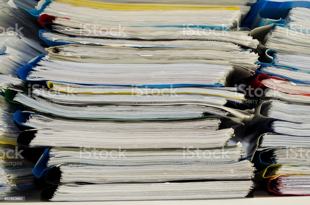 Extremely close up the stacking of office working documents stock photo