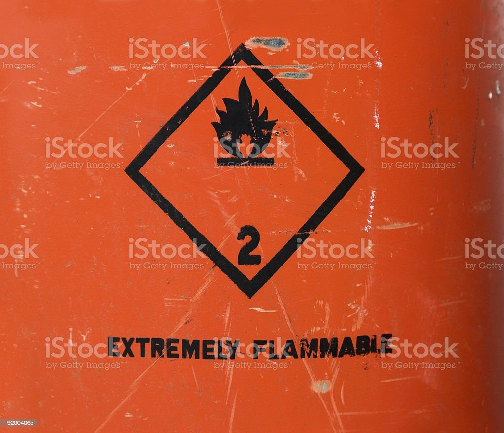 Extremely Flammable Sign On Propane Cylinder stock photo