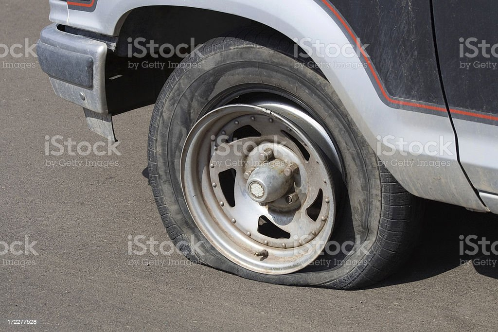 Extremely Flat Tire royalty-free stock photo