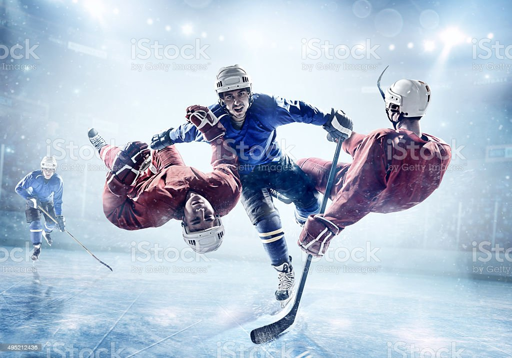 Extremely powerful ice hockey player stock photo