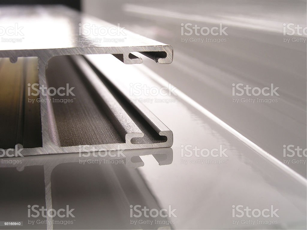 Extruded aluminum profiles up close stock photo