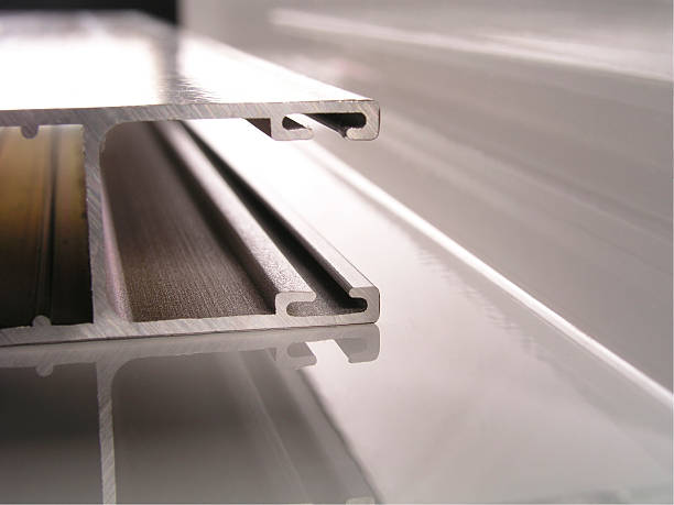 extruded aluminum profiles up close - aluminium bildbanksfoton och bilder