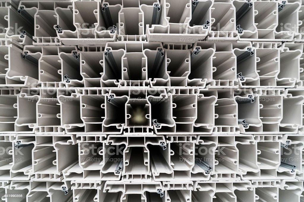 Extruded plastic profiles stock photo
