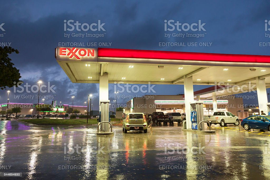 Exxon Gas Station At Night Stock Photo & More Pictures of 7
