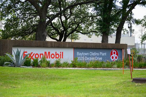 Baytown, Texas - July 31, 2019: ExxonMobil Baytown Olefins plant in Baytown, near Houston, Texas, USA