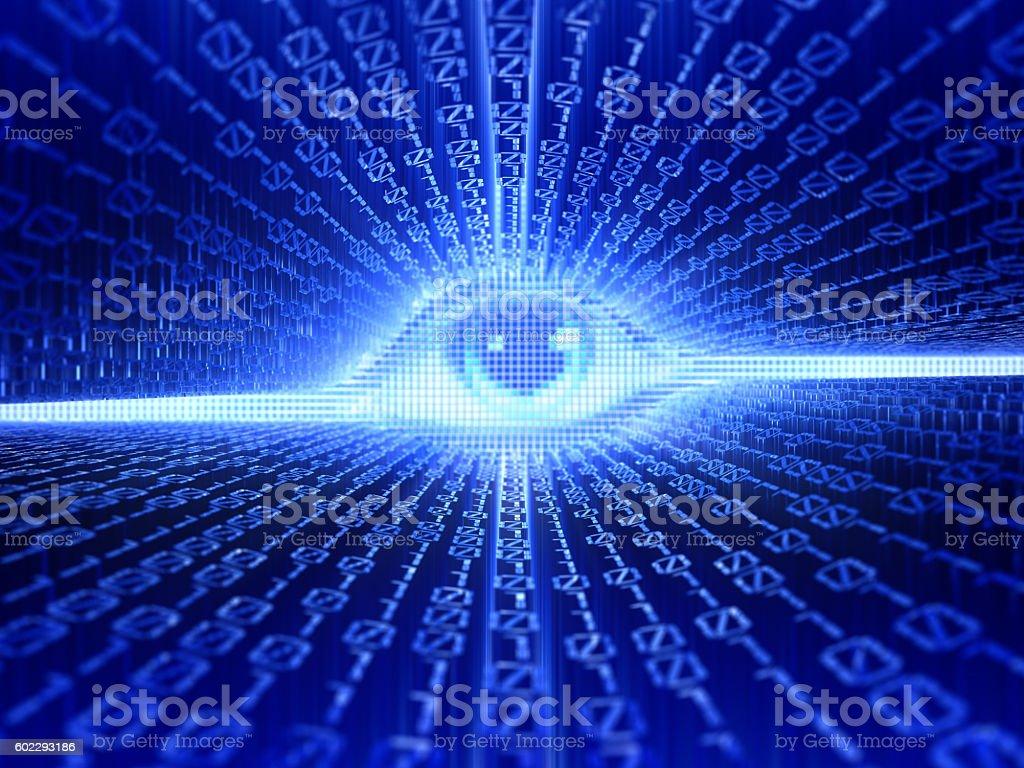 Eye and binary code stock photo