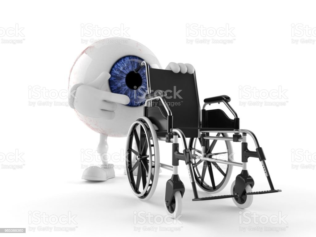 Eye ball character with wheelchair royalty-free stock photo