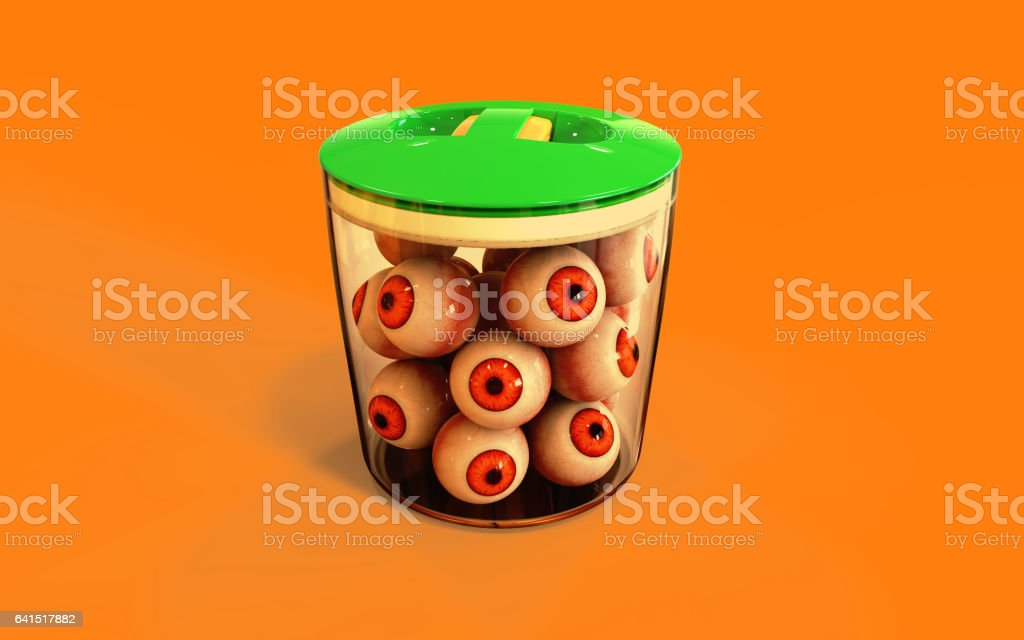 Eye ball halloween candy in jar on orange background, 3d Illustration. stock photo