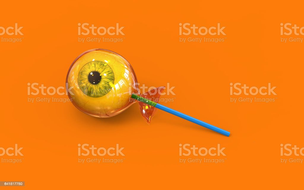 Eye ball halloween candy on orange background, 3d stock photo