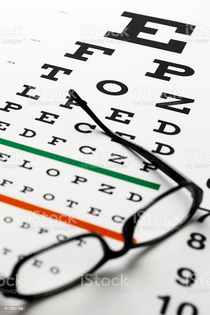 Eye Chart And Reading Glasses Stock Photo More Pictures Of