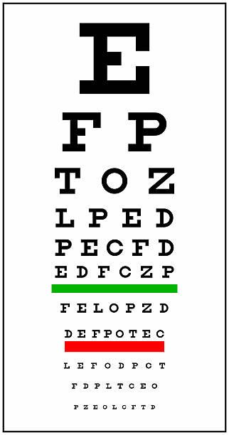 eye chart - illustration optician stock-fotos und bilder