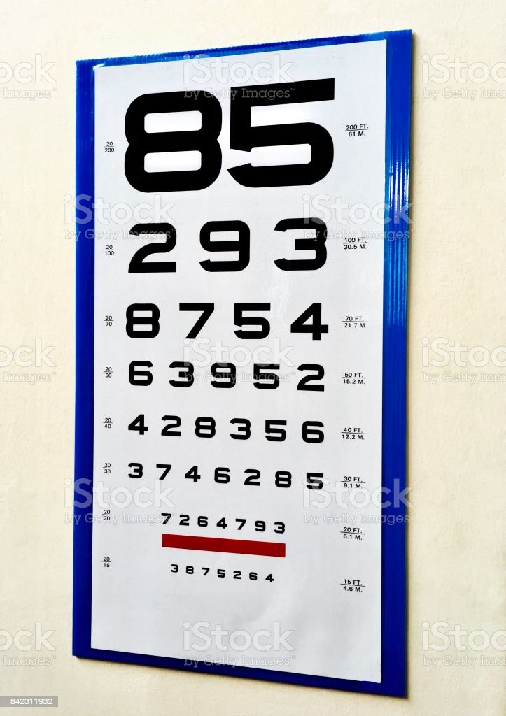Eye Chart Test With Letters For Eye Examination Stock Photo More