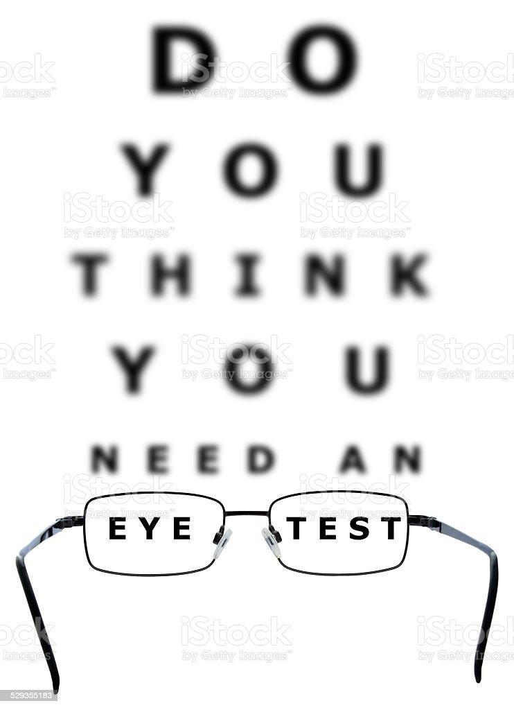 Eye Examination Chart and Glasses stock photo