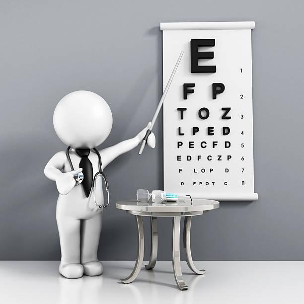eye-untersuchung - illustration optician stock-fotos und bilder