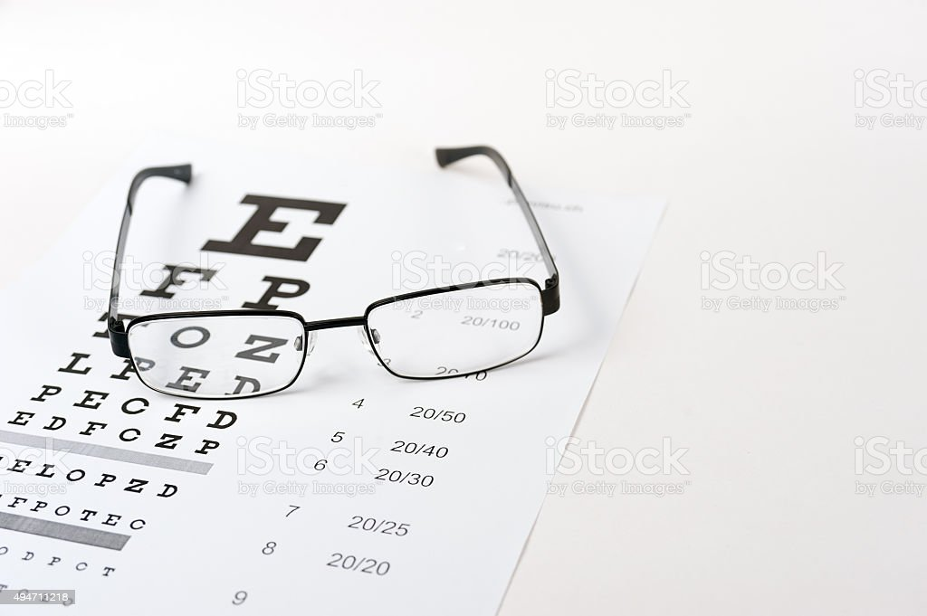 Eye glasses on eyesight test chart background close up royalty-free stock  photo