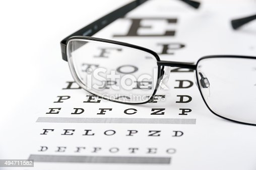 istock Eye glasses on eyesight test chart background close up 494711582
