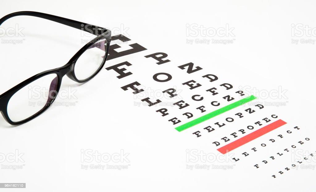 3531c67b70fcc7 Bril op gezichtsvermogen test grafiek achtergrond close-up. royalty free  stockfoto