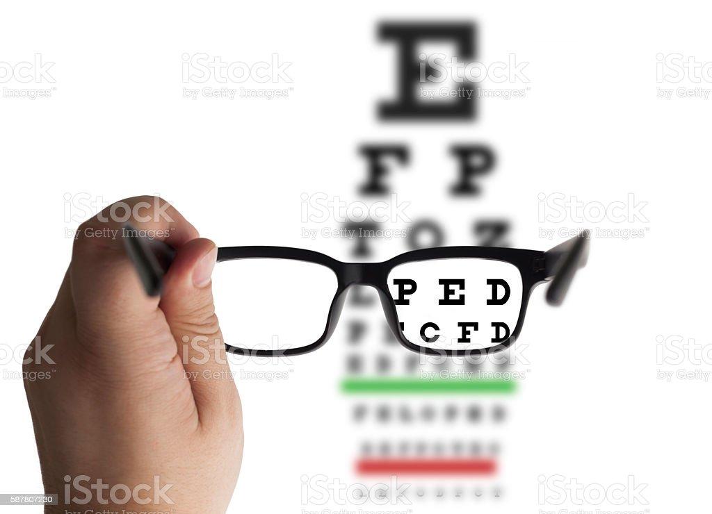 Eye glasses on eyesight test chart stock photo