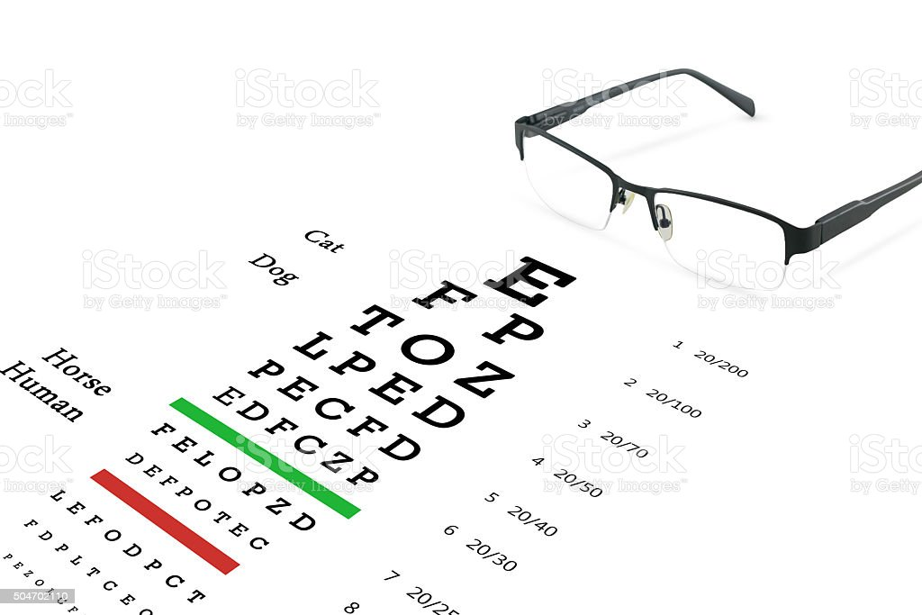 Eye glasses with eyesight test on chart board. - Royalty-free Adult Stock Photo