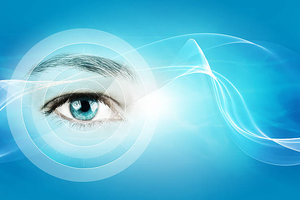 eye in a blue background stock photo