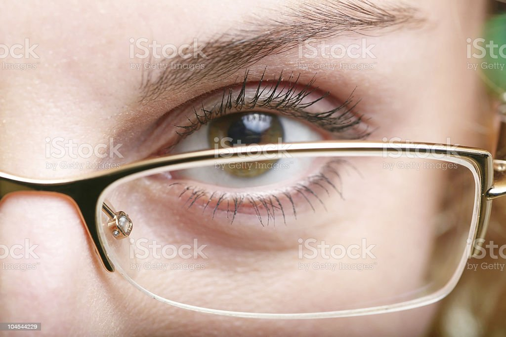 Eye in glasses royalty-free stock photo