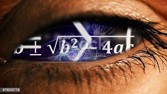 istock Eye iris with math equations mess inside 878003778