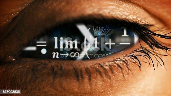 istock Eye iris with math equations mess inside 878003806