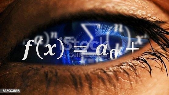 istock Eye iris with math equations mess inside 878003858