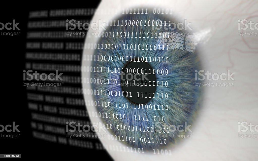 Eye Looking at Binary Code. stock photo