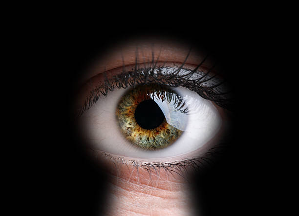 eye looking through a keyhole in close-up - big brother orwellian concept stock pictures, royalty-free photos & images