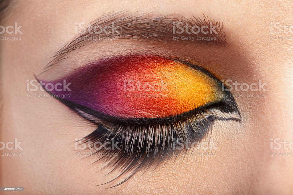 Eye Makeup. Beautiful Eyes Glitter Make-up. stock photo