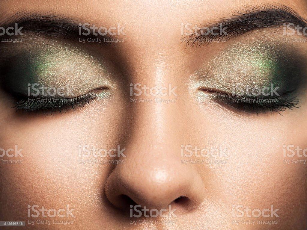 Eye Makeup Beautiful Smokey Eyes Makeup Holiday Makeup Stock Photo