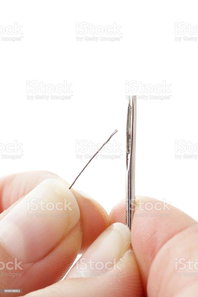 Eye of a needle stock photo