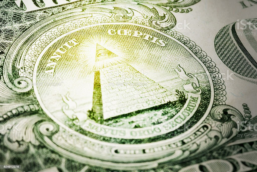 Eye of God on US Great Seal on $1 bill stock photo