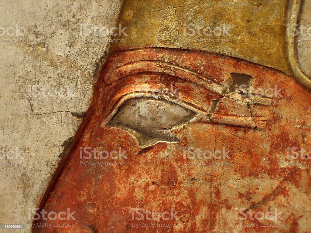 eye of hieroglyph on wall stock photo