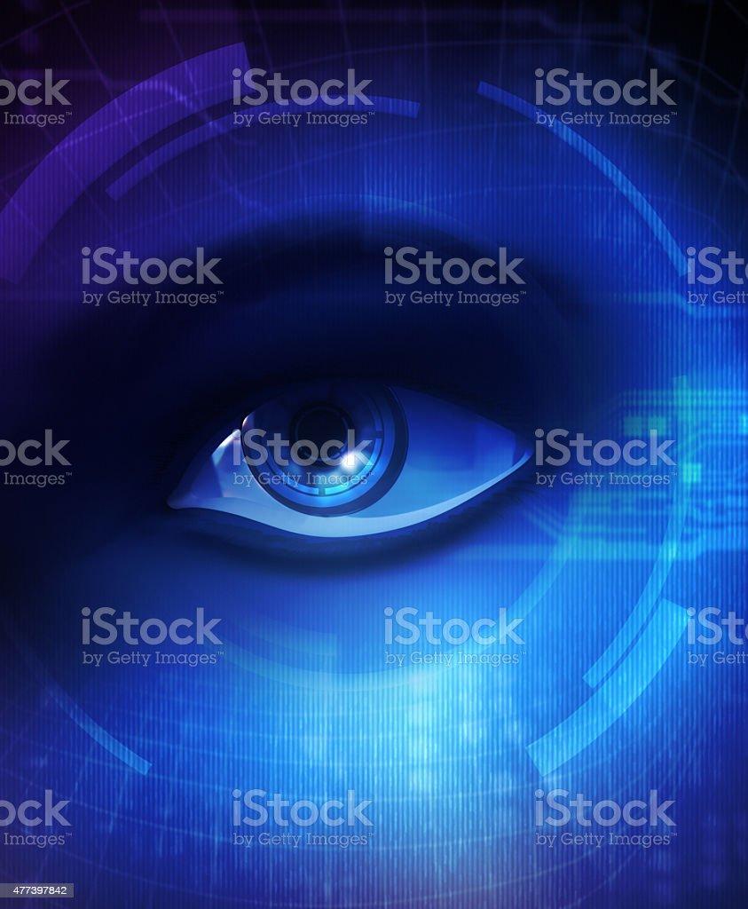 Eye of human and electronics stock photo