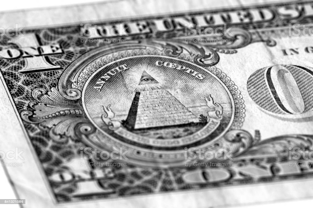 Eye of Providence on one USA dollar bill stock photo