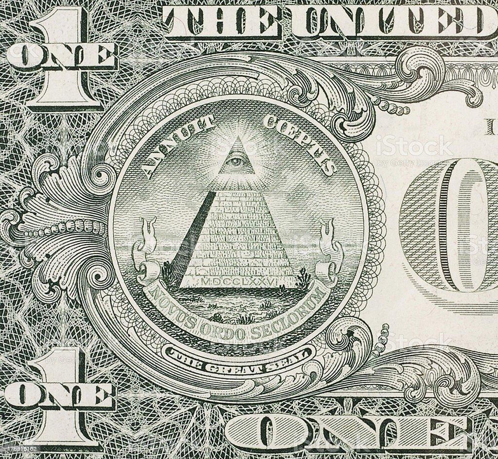 Eye of Providence - One dollar bill stock photo
