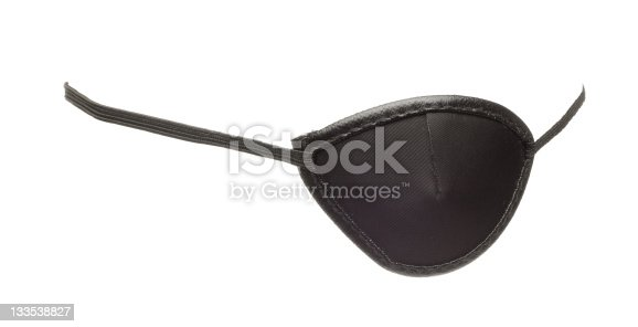 A black eye patch, isolated on white.