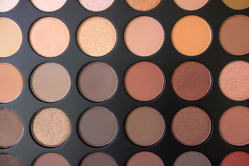 Looking down on an  eye shadow palette